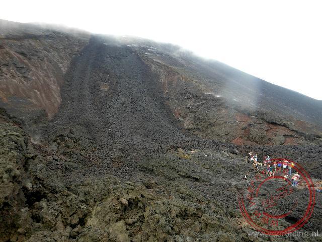 De krater van de Pacaya vulkaan in Guatemala