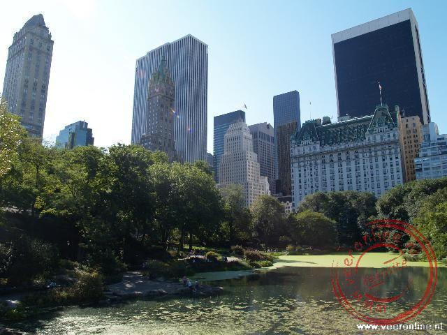 Central Park met op de achtergroep de wolkenkrabbers