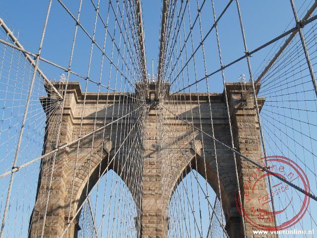 De fraaie constructie van de Brooklyn Bridge
