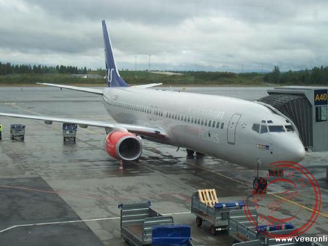 Het vliegtuig voor onze vlucht naar Amsterdam