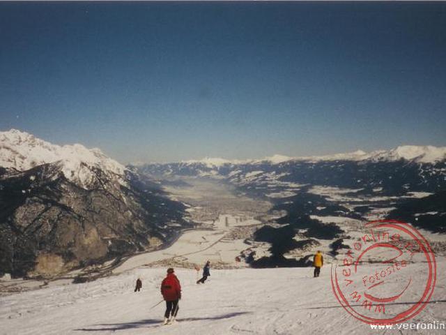 Het uitzicht vanaf de piste