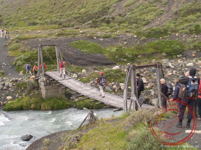 Het begin van de wandeling naar de basis van de Torres del Paine