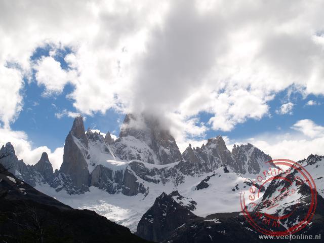 De top van de 3.800 meter hoge Fitz Roy laat zich niet zien.