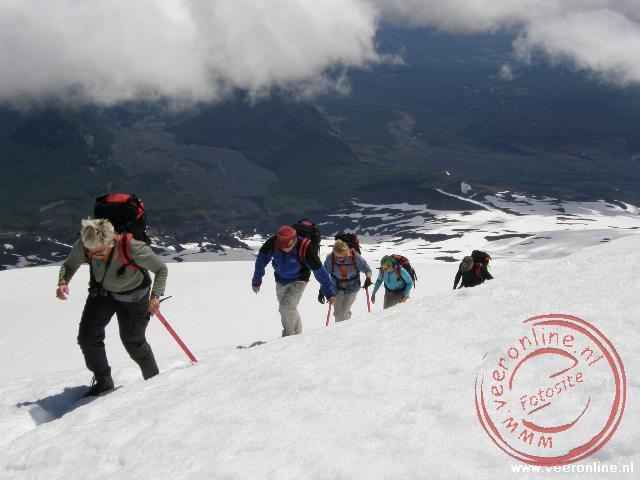 De vijf uur durende beklimming van de Villarica