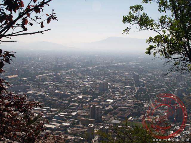 Uitzicht over de hoofdstad van Chili, Santiago de Chile