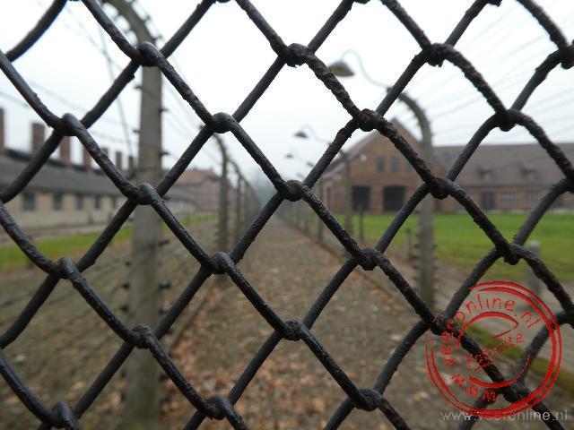 De omheining van Auschwitz