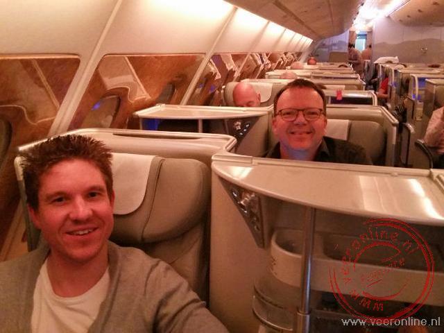 De ruime business class seats in de A380