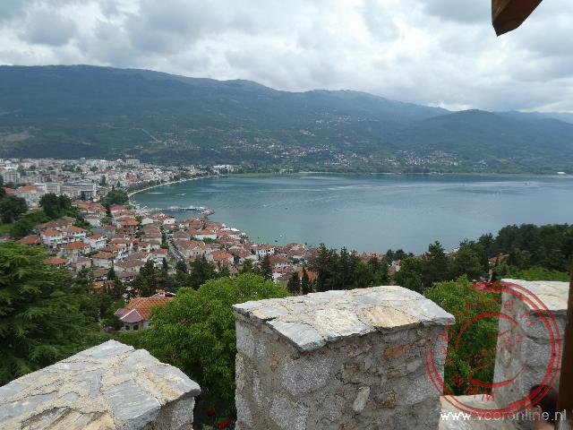 Het uitzicht van het fort van Samuel in Ohrid