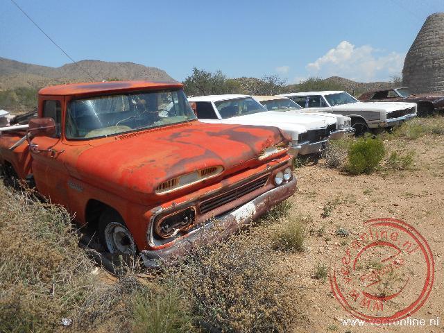 Oldtimers de route van de Route66 in Nevada