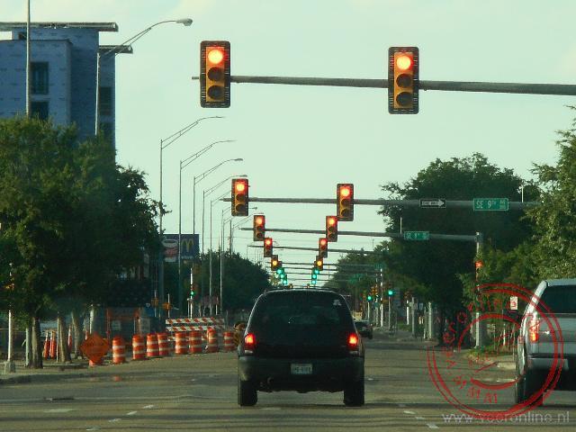 Heel veel verkeerslichten in het centrum van Amarillo