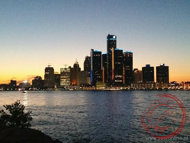 De skyline van Detroit gezien vanuit het Canadese Winsor