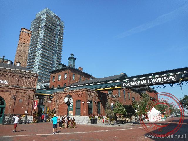 De trendy wijk Distillery district in Toronto