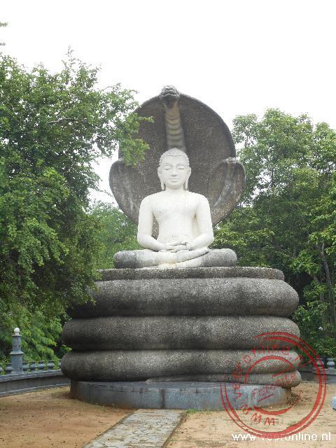 Een Boeddha beeld onderaan de Pidurangala berg