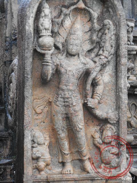 Een detail van de heilige Vatadage tempel in Polonnaruwa