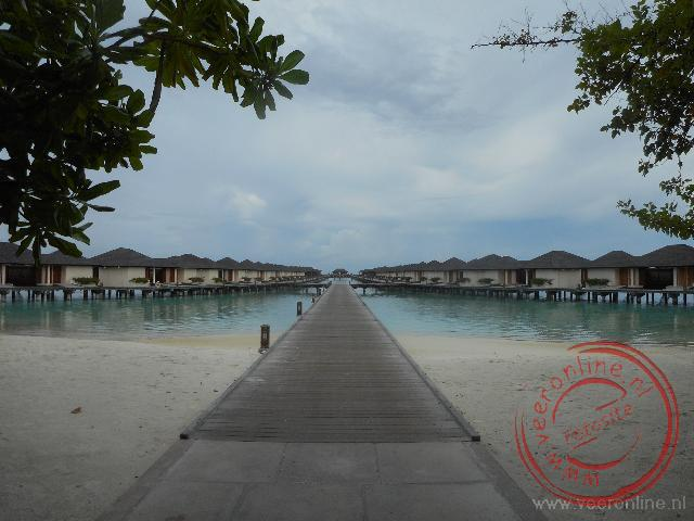 De waterbungalows op het Paradise Island