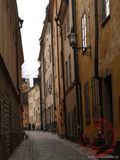 De smalle straatjes van de oude stad in Stockholm