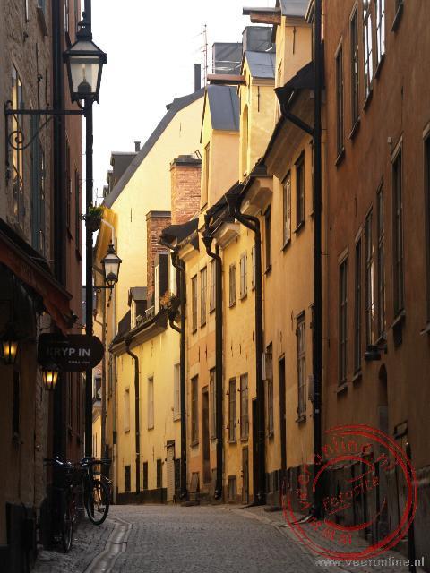 De smallestraatjes in het oude centrum van Stockholm