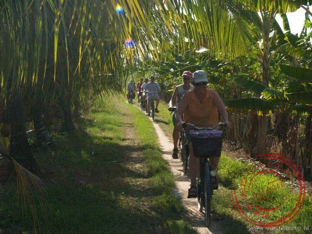 Op de fiets tussen de plantages door
