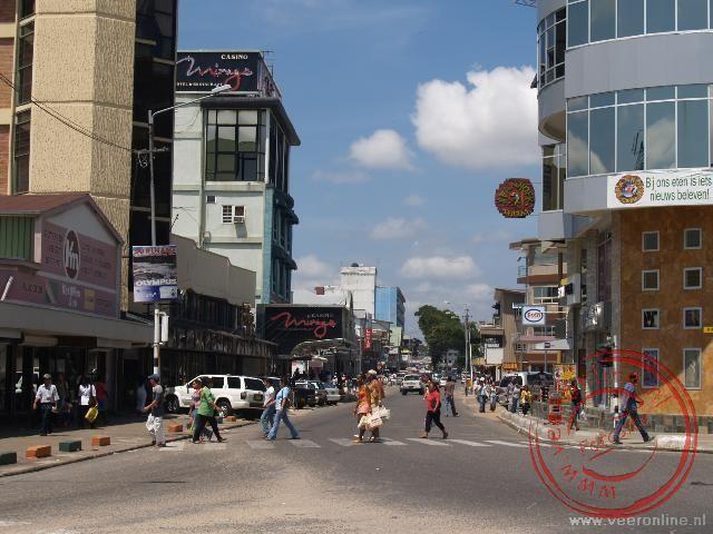 De winkelstraat van Paramaribo