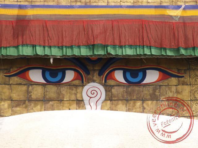 De Bodhnath Tempel met het Oog in Kathmandu