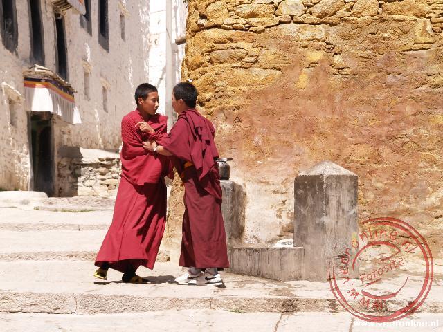 Twee monniken stoeien bij de waterplaats