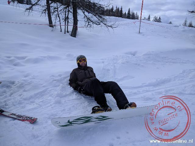 Even pauzeren in de sneeuw