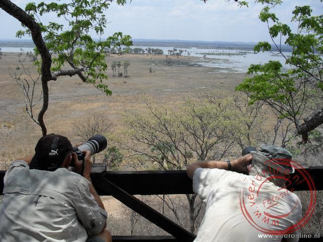 Het uitkijkpunt in Liwonde National Park richting de Shire rivier
