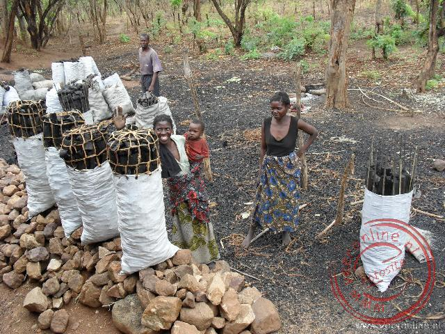 Houtskool wordt verkocht direct langs de weg