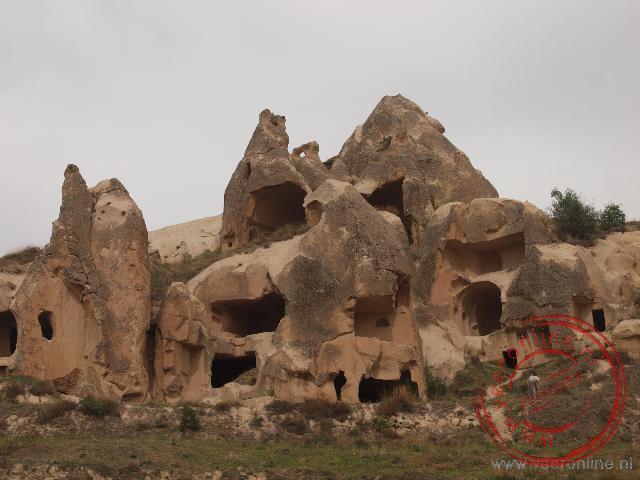 De grotwoningen in de rotsen van Cappadocië