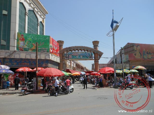 De zaterdag bazaar van Kashgar