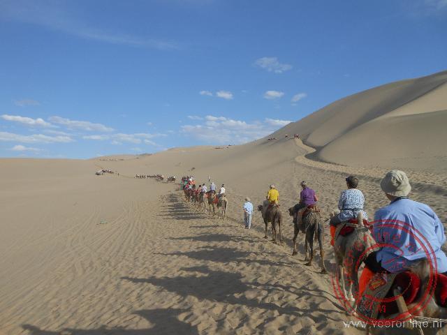 Op een kameel de zandduin van Dunhuang op