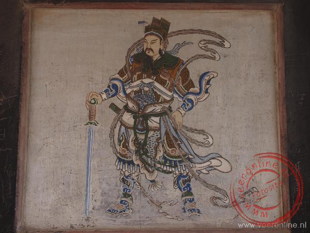Een afbeelding in het fort van Jiayuguan