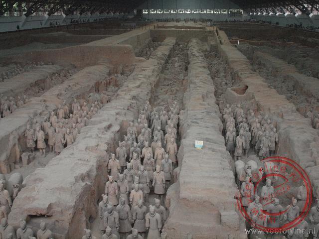 De grote hal van het Terracotta leger in Xian