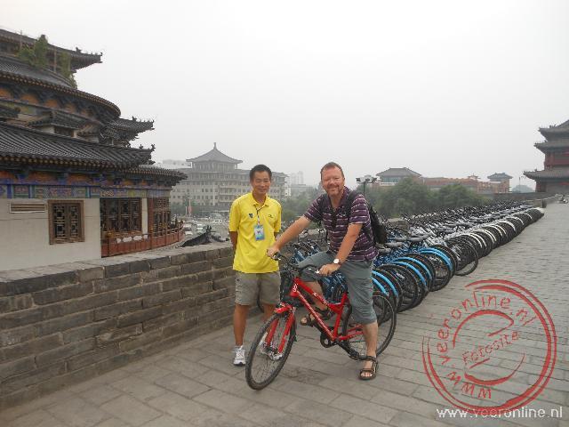 Fietsen op de stadsmuur van Xian