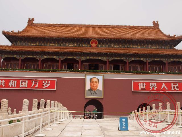 De grote afbeelding van Mao op het Plein van de Hemelse Vrede