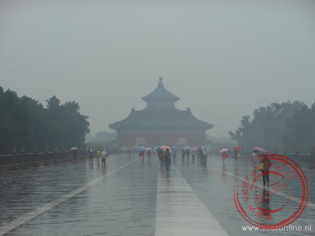 De Temple of Heaven in de regen