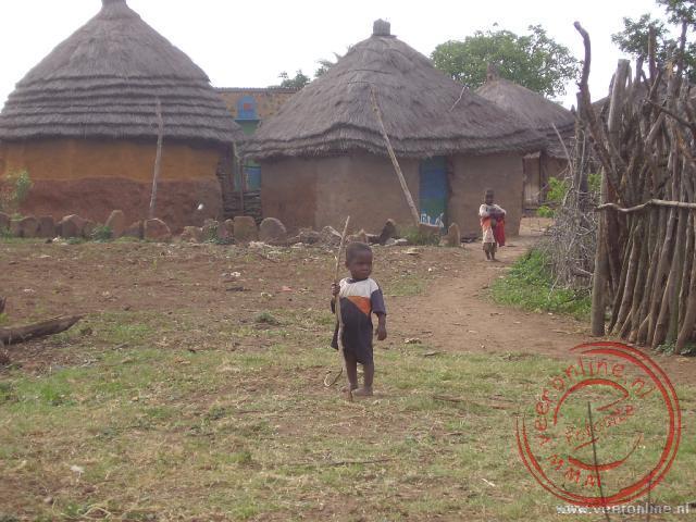 De huisjes buiten de dorpskern van Shewula