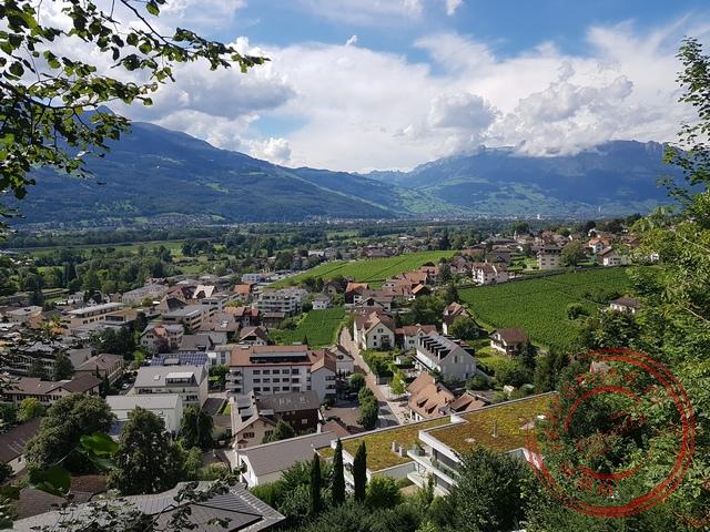 Uitzicht op de buitenwijk van Vaduz